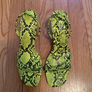 Zara neon snakeskin sandals size us 6.5